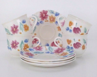 Floride by Arcopal France 4 Cups with Saucers French Tea Cups Coffee Demitasse Espresso Cups - Spring Floral French Cottage Chic French Café