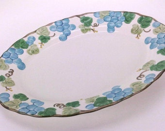 Metlox Poppy Trail Sculptured Grape Dinnerware, Poppytrail Dinnerware, Serving Platter, Large Platter, Vintage Dinning, Discontinued Pattern