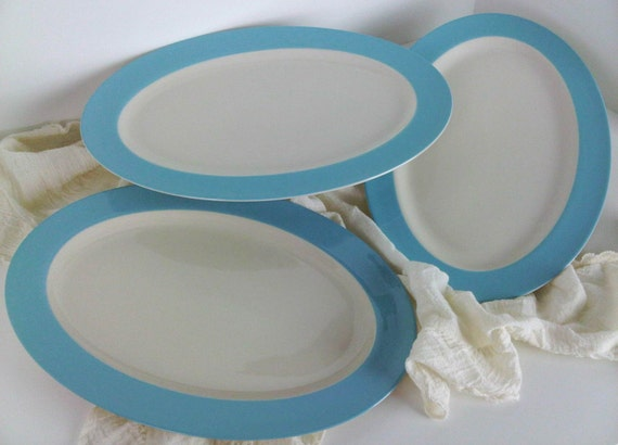Robins Egg Blue Banded Dinnerware 3 Med Serving Platters