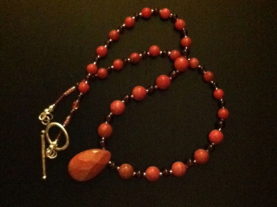 Semi Precious Love - Garnet and Rhodonite beaded necklace - red pink rose valentines day