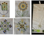 Hand Stitched Kitchen Towel Set - Scandinavian Style Embroidery