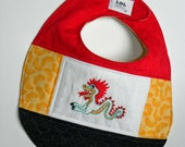 Year of the Dragon 2012 - Hand Embroidered Quilted Baby Bib