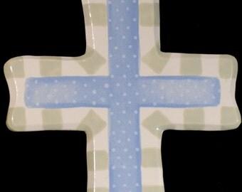 Ceramic Cross-Keep the Faith Blue and Green