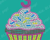 PreCut Sticky Flock Template - Birthday Cupcake Multi-color Bling / Rhinestone Design