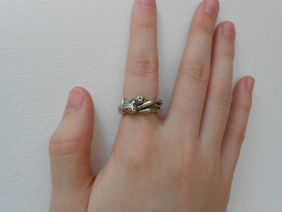 Cuddle Cats Sterling Ring Size 5.75