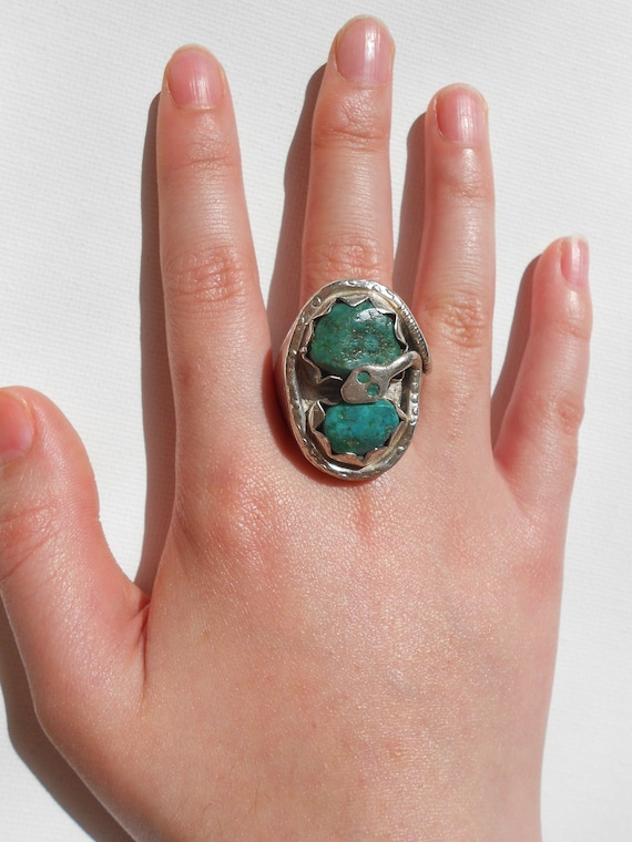 Zuni Sterling Silver Snake Turquoise Ring Sz 11