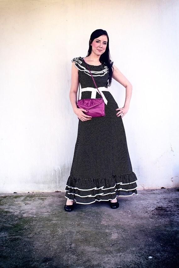 "Vintage ""Miss Elliette"" Black and White Polka Dot Dress"