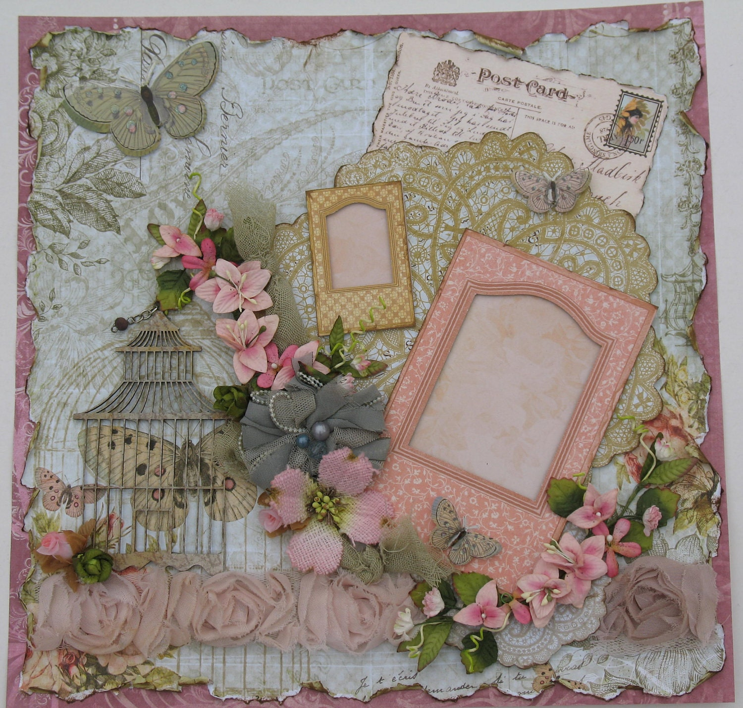 Premade Scrapbook Page Layout 12x12 Vintage Shabby Chic