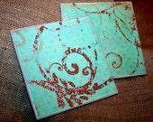 Tile Glitter Swirls Coasters