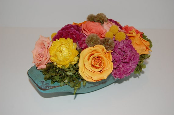 Preserved Roses, Cockscomb, Hydrangeas, Straw Flowers, Scabiosa Pods, Billy Balls, and Peonies