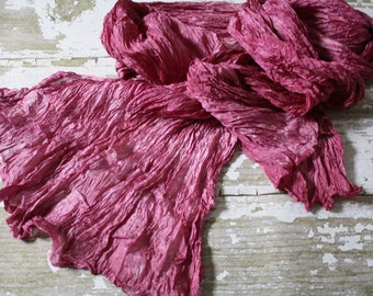 Midday Juiciness - hot pink, mauve, raspberry, light pink silk scarf.