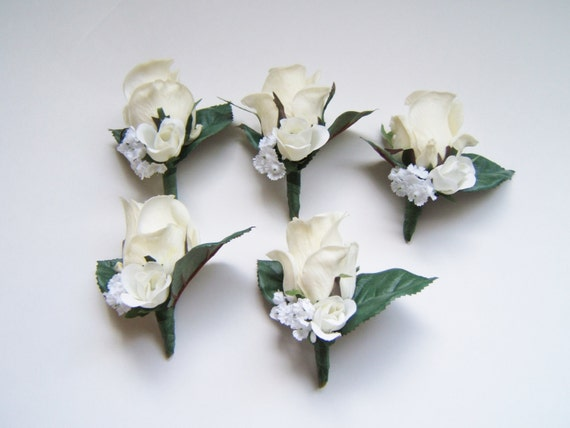 White real touch rose boutonnieres, five wedding boutonnieres, buttonhole, destination wedding, groom groomsmen father