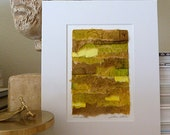 Original Handpainted Watercolor Paper Textural Collage Amber Yellow Brown Green