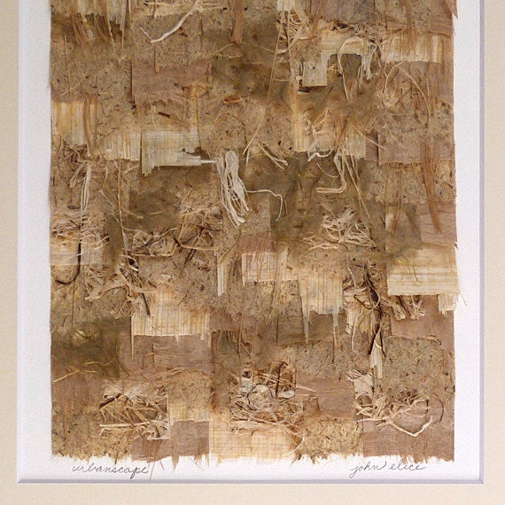 Origianl Paper Collage Neutral Shades of Brown and Ivory