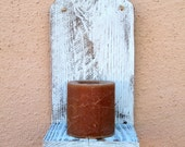 Ocean Blue Wooden Wall Sconce. Country Style Wooden Wall Art   Candle Holder  Small Vase Holder