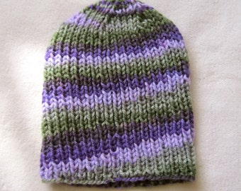 Green and Purple Beanie for Teens and Adult Ladies. Hand Knitted Beanies. Green Beanie. Purple Beanie. Made to order Beanies