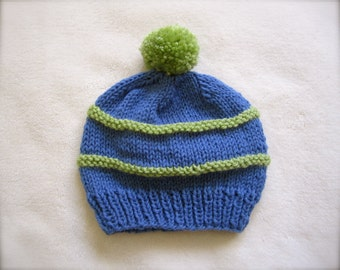 Blue and Green Beanie for Baby Boy. Beanies for Newborn. Blue Beanie for baby. It's a Boy Beanie.