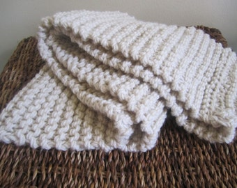 Off White Infinity Scarf. Cream Scarf. Hand Knitted Scarf. Made to order scarfs. Outerwear. Winter Accessories. Cozy Scarf.