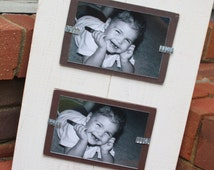 Picture Frame - Distressed Wood - Holds 2 - 4x6 Photos - Smooth Wood - Double 4x6 - White with Chocolate Brown
