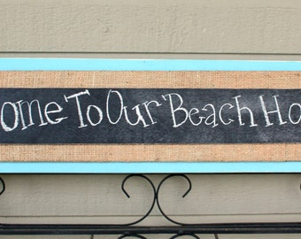 Chalkboard Message Sign - Welcome Sign - Distressed Wood -  Sky Blue and Burlap