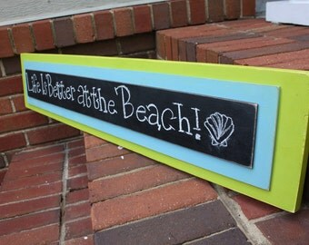 Chalkboard Message Sign - Welcome Sign - Distressed Wood - Lime Green and Sky Blue