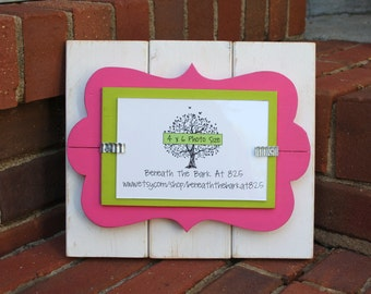 Wood Picture Frame with Doodle Cut Out - White, Pink & Green - Holds a 4x6 Photo