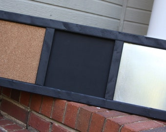 Memo Board - Organizer - Wood Frame - Magnetic, Chalk, Cork Board - Black