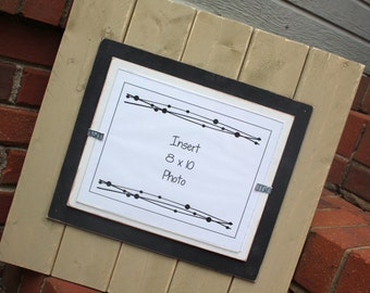 Picture Frame - Holds an 8x10 Photo - Lightly Distressed Wood - Khaki, Black & White
