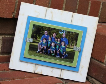 Distressed Wood Picture Frame - With Double Mats - Holds a 4x6 Photo - White, Blue & Green