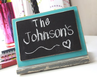 Chalkboard Sign - Stands Upright in Wood Base - Tabletop - Distressed Wood - Aqua & Gray with Black Chalkboard