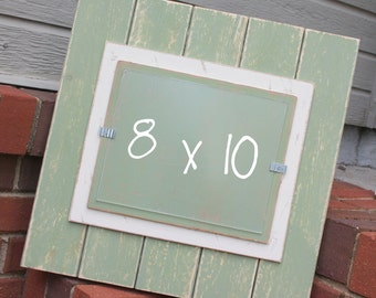 picture frame distressed wood holds an 8x10 photo double mats sage green cream