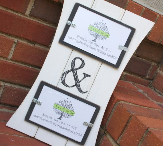 Picture Frame with Ampersand - Distressed Wood - Curved Sides - Holds 2 - 4x6 Photos - White & Black