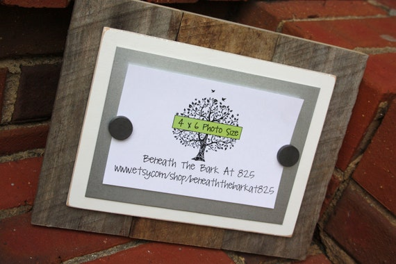 Aged Wood Magnetic Board with White Mat and Silver Metal - Picture Frame - Dry Erase Board