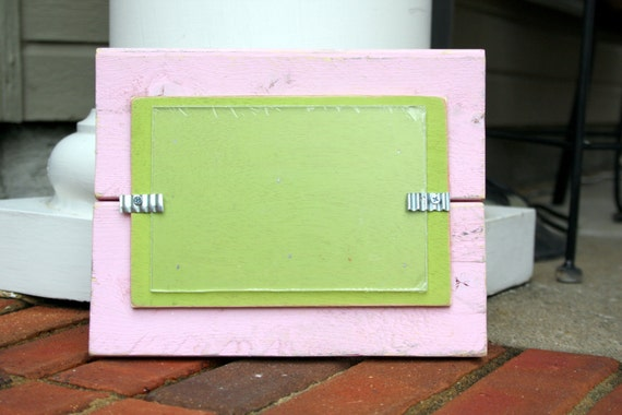 Picture Frame - Holds a 4x6 Photo - Distressed Wood - Light Pink and Spring Green