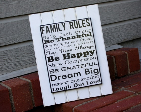 Small Family Rules Wall Art on White Distressed Wood Frame