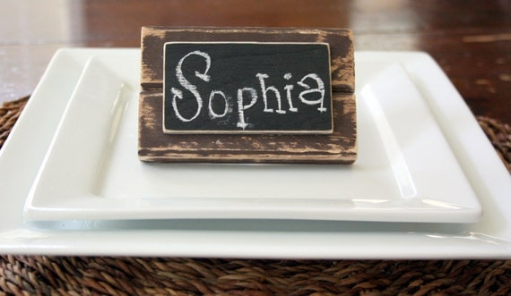 Set of 4 - Distressed Wood - Mini Frame Chalkboard Place Cards - Table Markers - Chalkboard Signs - Brown