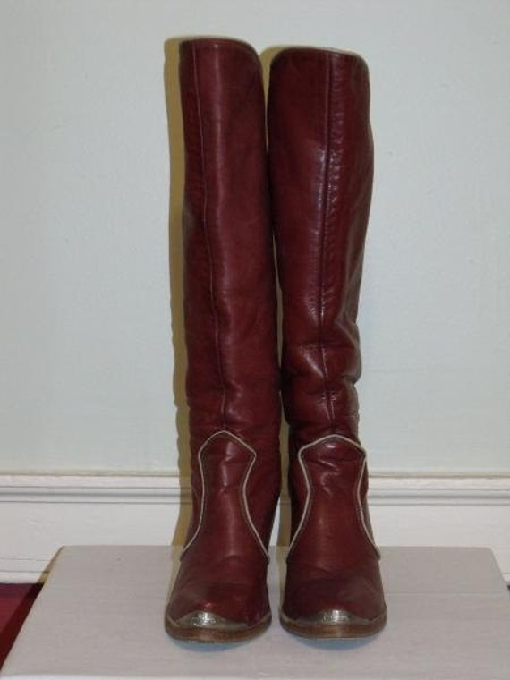 Vintage Zodiac Red Leather Cuffable Boots size 7.5, fits like 6.5 80's 70s