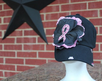 Pink Ribbon Breast Cancer Baseball  Style Black Hat.... EXTRA Bling/Rhinestones