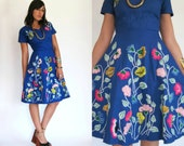 Vintage 50s Blue EMBROIDERED Swing Dress