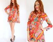 RESERVED  Vintage 60s PSYCHEDELIC Keyhole Neck Mini Dress M