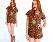 Vintage 60s Brown FLORAL & PAISLEY Mini Dress M
