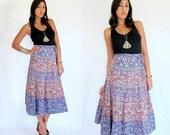 Vintage 70s INDIAN Cotton Wrap Skirt OS