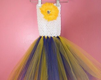 Tutu Dress ~ 3 months to 2 years old ~ Blue Yellow ~ Michigan