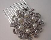 FREE Shipping US STELLA Collection Vintage Inspired  Swarovski Crystal Rhinestone Pearl Bridal Hair Comb Wedding Hair Accessories
