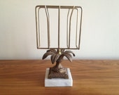Vintage Hollywood Regency Brass and Marble Letter Holder with Palm Tree