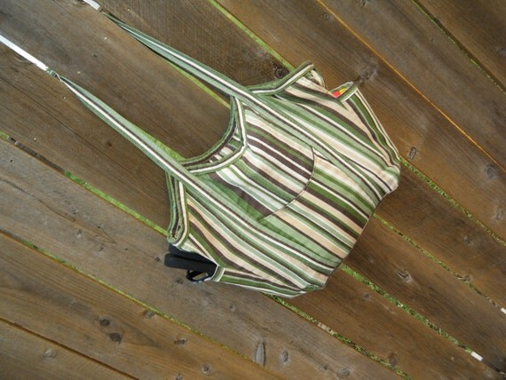 Medium Bella Bag- beach bag/diaper bag/tote bag/summer purse- in Gleefully Kiwi canvas- green handle