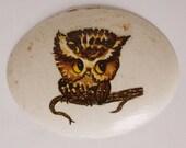 Cute Ceramic Owl Wall Hanging - 1970s