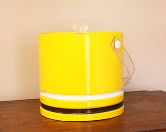 1970s Mustard Yellow and Brown Ice Bucket