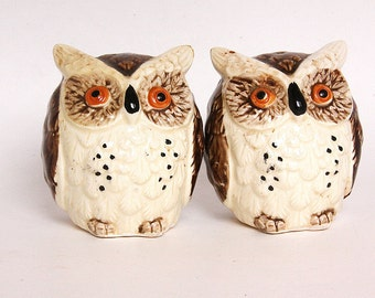 Owl Salt and Pepper shakers - 1970s Brown, White, Orange