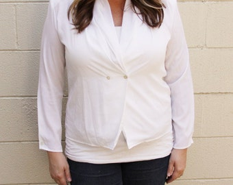 White Anna Kristie V-Neck Blouse - Size XL